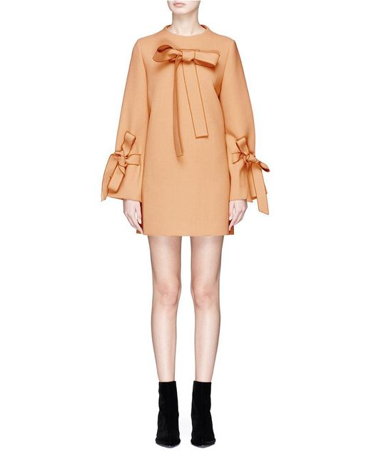 Helen Lee | Brown Bow Cady Crepe Dress | Lyst