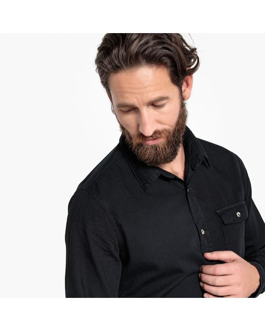 338b717da5 ... LA REDOUTE - Black Long-sleeved Straight Cut Shirt for Men - Lyst ...