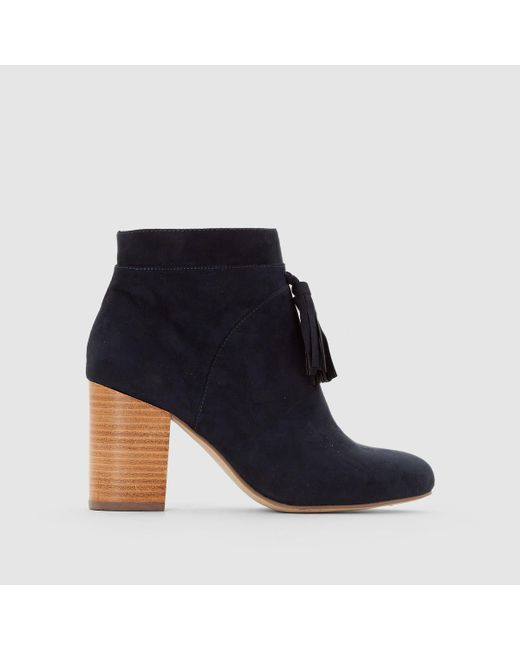 LA REDOUTE | Blue Heeled Ankle Boots With Tassel Detail | Lyst