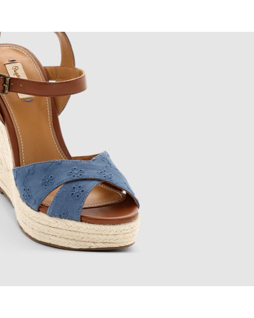 Pepe jeans Walker Romantic Wedge Sandals in Blue | Lyst