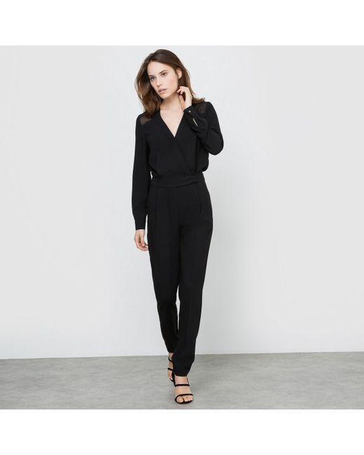 LA REDOUTE | Black Slim Fit Jumpsuit With Cigarette Trousers | Lyst