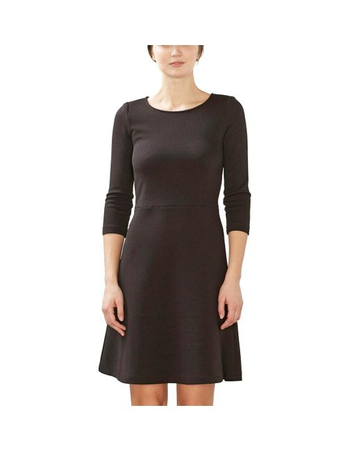 Esprit | Black Fitted Dress With 3/4 Length Sleeves | Lyst