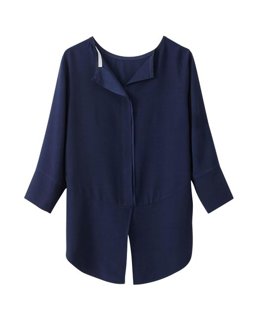 See U Soon | Blue Blouse With 3/4 Sleeves And Buttoned Back | Lyst