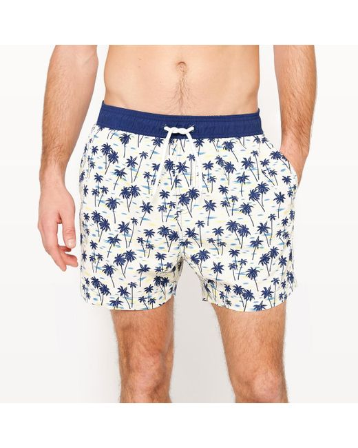 LA REDOUTE | Blue Palm Tree Print Swim Shorts for Men | Lyst