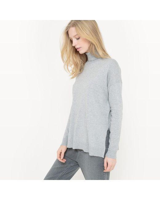 LA REDOUTE | Gray Cotton/silk Roll-neck Jumper/sweater | Lyst