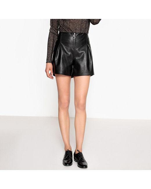 LA REDOUTE - Black Faux Leather Shorts - Lyst