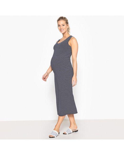 LA REDOUTE - Blue Straight Striped Maternity Dress - Lyst