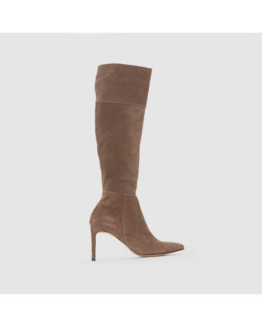 LA REDOUTE | Brown Suede Leather Boots | Lyst
