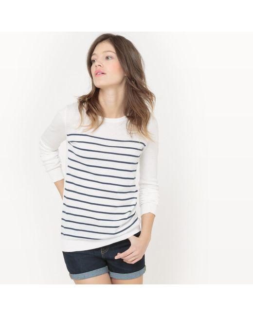 LA REDOUTE - White Crew-neck Cotton Jumper/sweater - Lyst