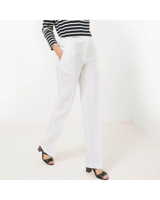 LA REDOUTE - White Straight Linen Trousers - Lyst
