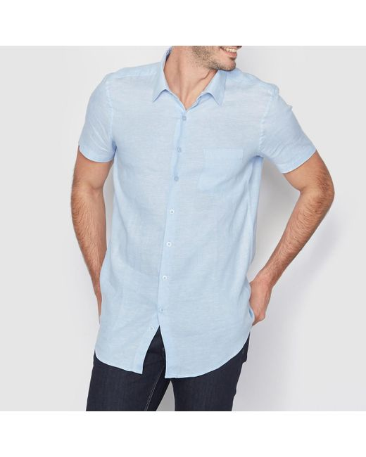 LA REDOUTE - Blue Short-sleeved Regular Fit Linen Shirt for Men - Lyst