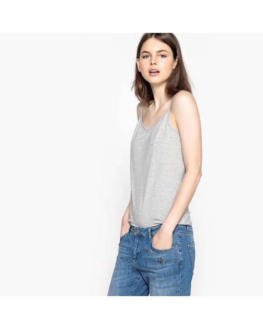 LA REDOUTE - Gray Plain Top With Shoestring Straps - Lyst