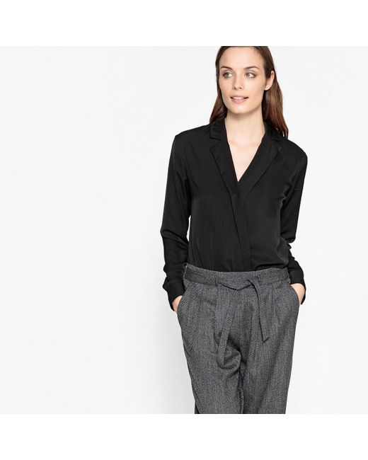LA REDOUTE | Black Wrap Bodysuit With Tailored Collar | Lyst