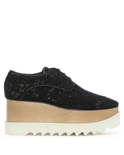 Stella McCartney - Elyse Black Lace Flatform Shoes - Lyst