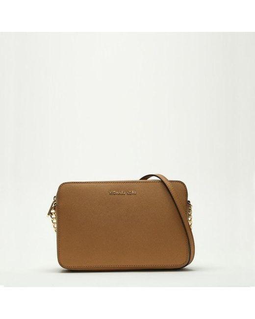 Michael Kors - Brown Jetset Travel Large Tan Leather Ew Cross-Body Bag - Lyst