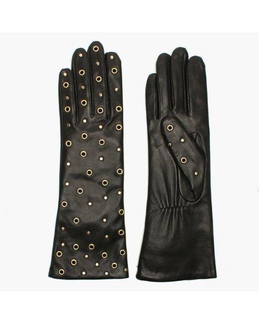 Agnelle - Arzu Studded Black Leather Long Gloves - Lyst