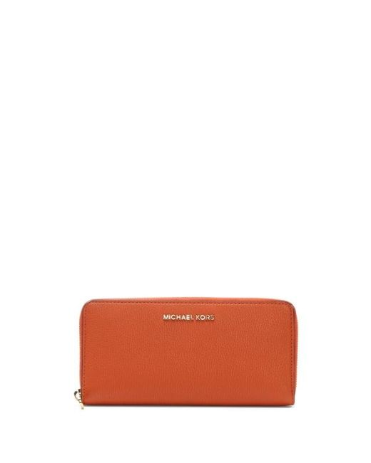 Michael Kors | Bedford Continental Orange Leather Zip Around Wallet Colo | Lyst