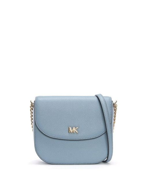 dc97e8ccfe45 Michael Kors Half Dome Pale Blue Leather Cross-body Bag in Blue - Lyst