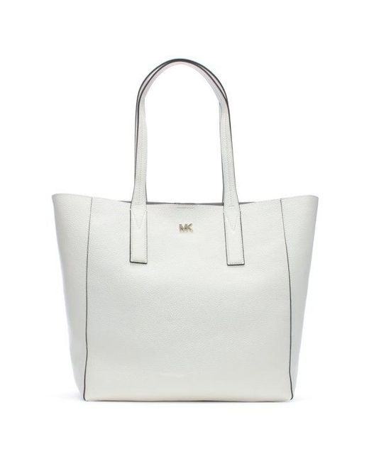 fb0842b982a6 Michael Kors - Large Junie Optic White Pebbled Leather Tote Bag - Lyst ...
