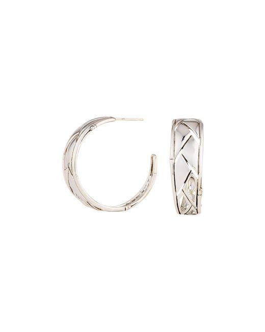 John Hardy - Metallic Silver Bamboo Shoot Hoop Earrings - Lyst