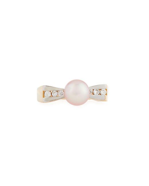 Belpearl - Metallic 14k Gold Flat Diamond & Pearl Ring - Lyst