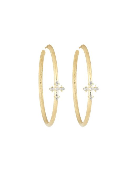 Jude Frances - Metallic 18k Fleur Cross Pave Diamond Large Hoop Earrings - Lyst