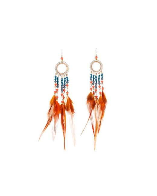 Nakamol - Orange Beaded Hoop Drop Feather Earrings - Lyst