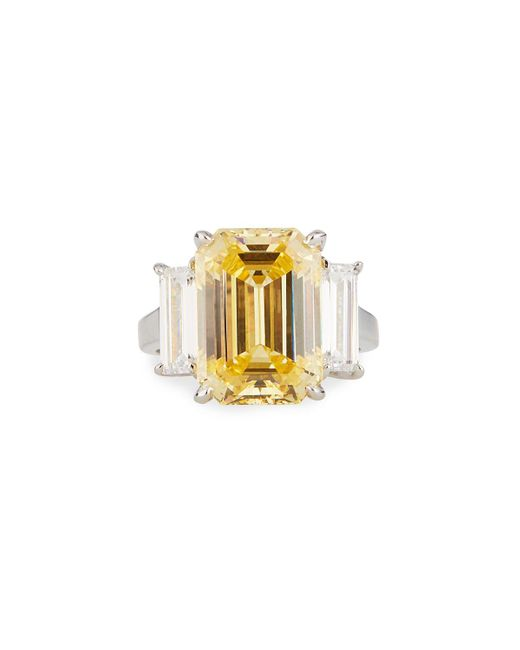 Fantasia by Deserio Large Cubic Zirconia Cushion Ring Yellow/clear Sizes 6-8