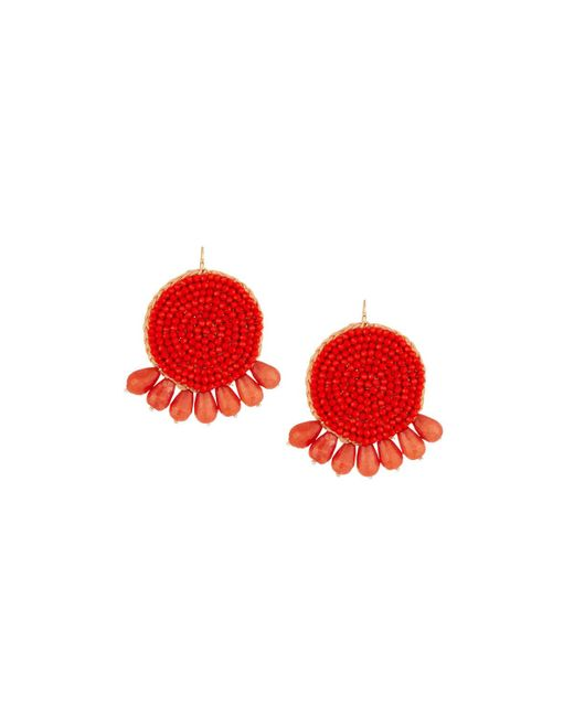 Panacea - Red Round Beaded Coral Earrings - Lyst