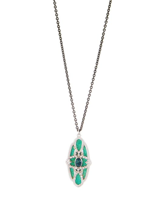 Armenta - Black New World Teal Mosaic & Opal Necklace With Diamonds - Lyst