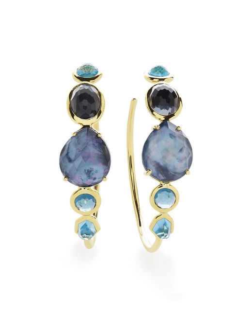 Ippolita - Blue 18k Rock Candy Gelato #3 Hoop Earrings In Midnight Rain - Lyst