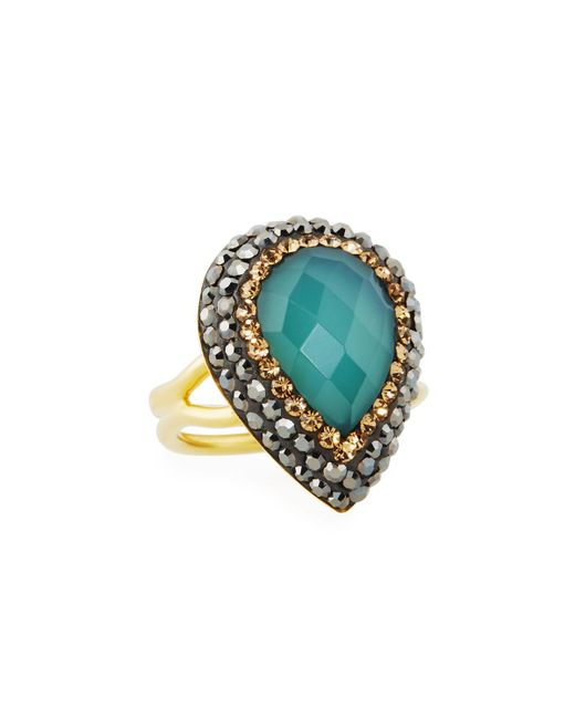 Native Gem Jewelry | Blue Ilume Chalcedony & Crystal Adjustable Cocktail Ring | Lyst