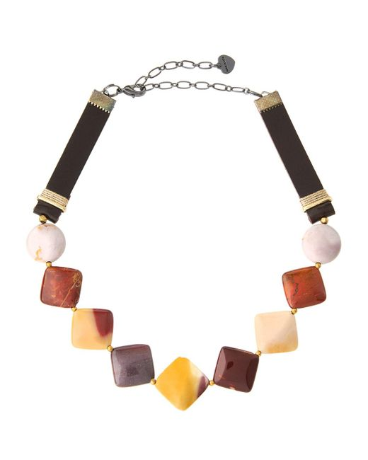 Nakamol | Brown Jasper & Leather Square Beaded Choker Necklace | Lyst