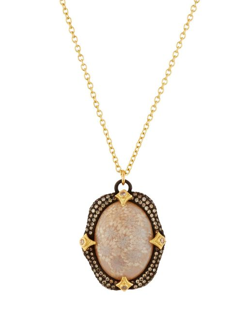 Armenta - Metallic Fossilized Coral Pendant Necklace W/ 18k Gold - Lyst