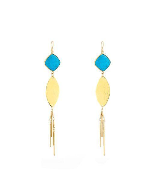 Devon Leigh | Blue Turquoise Leaf Fringe Dangle Earrings | Lyst