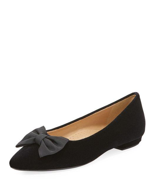 Neiman Marcus - Black Gervin Velvet Flat W/ Bow - Lyst