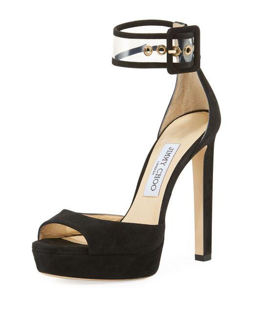 Jimmy Choo - Black Mayner Suede High Dressy Platform Sandal - Lyst