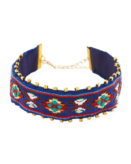 Panacea - Blue Embroidered Choker Necklace - Lyst