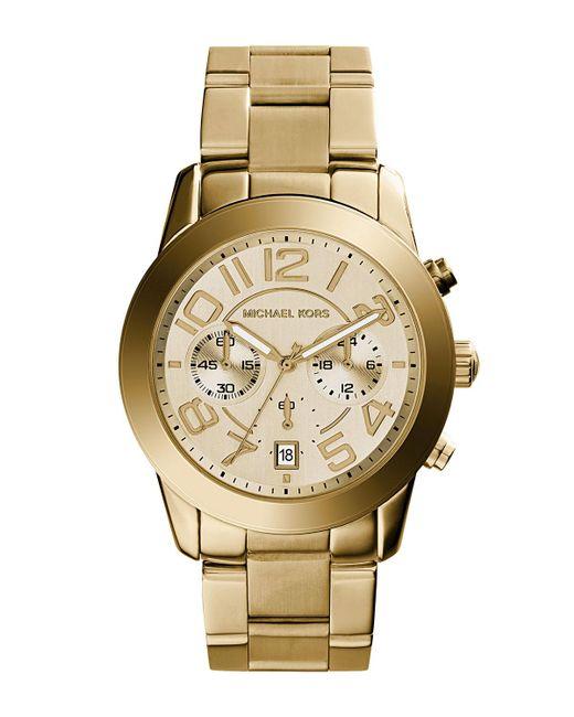 808545bde5ef MICHAEL Michael Kors - Metallic 42mm Mercer Chronograph Bracelet Watch  Golden for Men - Lyst ...