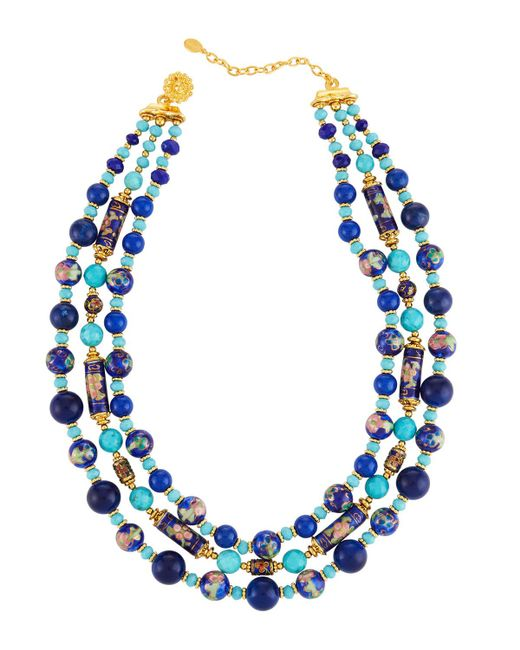 Jose & Maria Barrera - Blue Triple-strand Beaded Necklace - Lyst