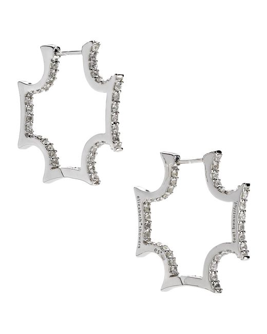 Elizabeth Showers | Maltese White Sapphire Hoop Earrings | Lyst