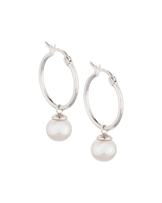 Majorica - White Sterling Hoop Earrings W/ Pearl Drop - Lyst