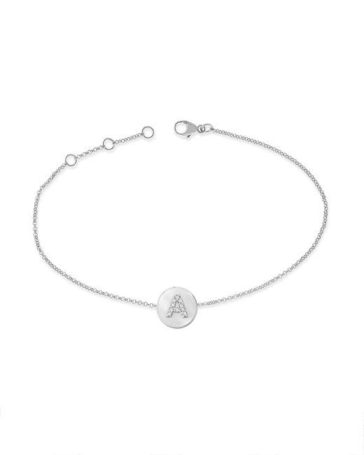 KC Designs - 14k White Gold Diamond Disc Initial Bracelet - Lyst