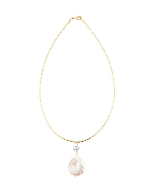Kenneth Jay Lane   White Golden Chain Choker W/ Crystal & Pearly Pendant   Lyst