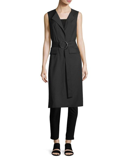 Laundry by Shelli Segal | Black Long Belted Pinstriped Vest | Lyst