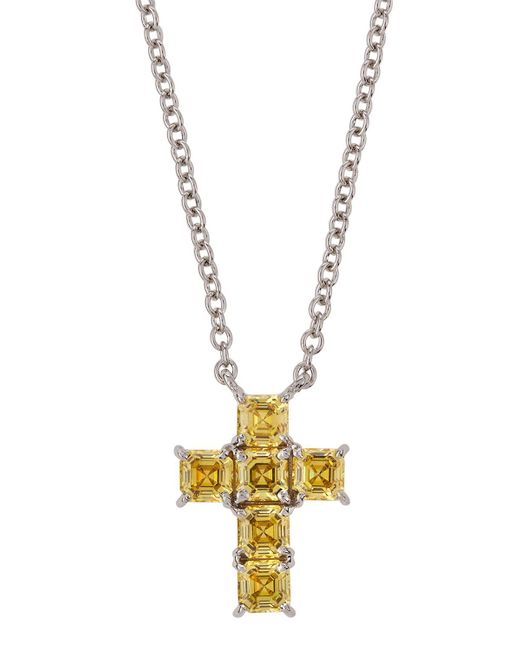Fantasia by Deserio - Metallic Asscher-cut Cz Cross Pendant Necklace - Lyst