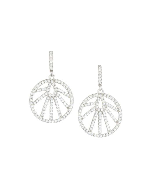 Fantasia by Deserio - Multicolor White Cz Crystal Round Drop Earrings - Lyst