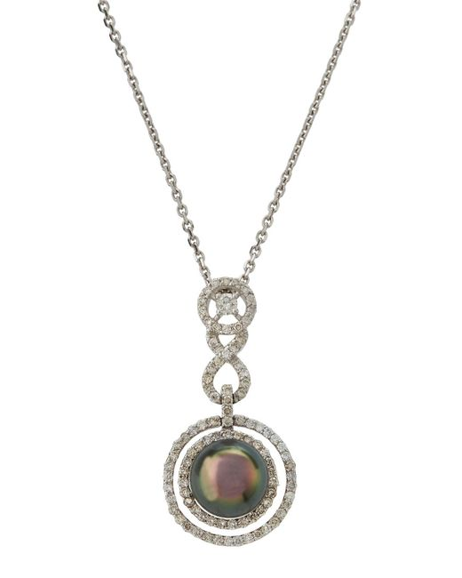 Belpearl - 14k White Gold Geometric Pave & Pearl Pendant Necklace - Lyst