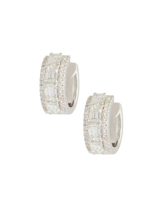 Roberto Coin - 18k White Gold Emerald-cut Diamond Hoop Earrings - Lyst