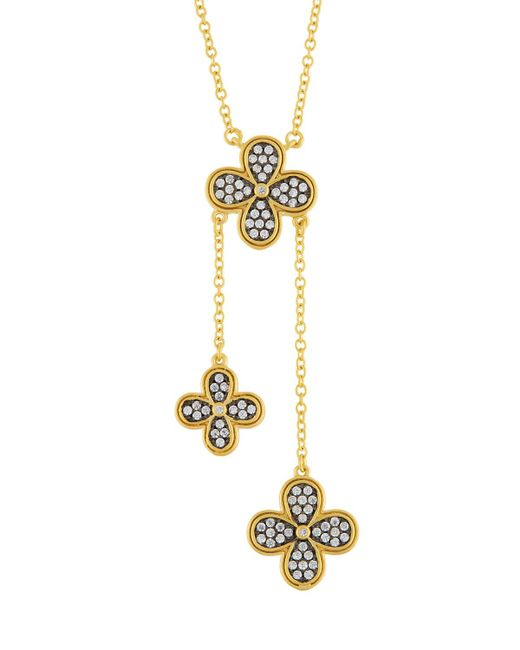 Freida Rothman - Metallic Pave Crystal Clover Lariat Necklace - Lyst